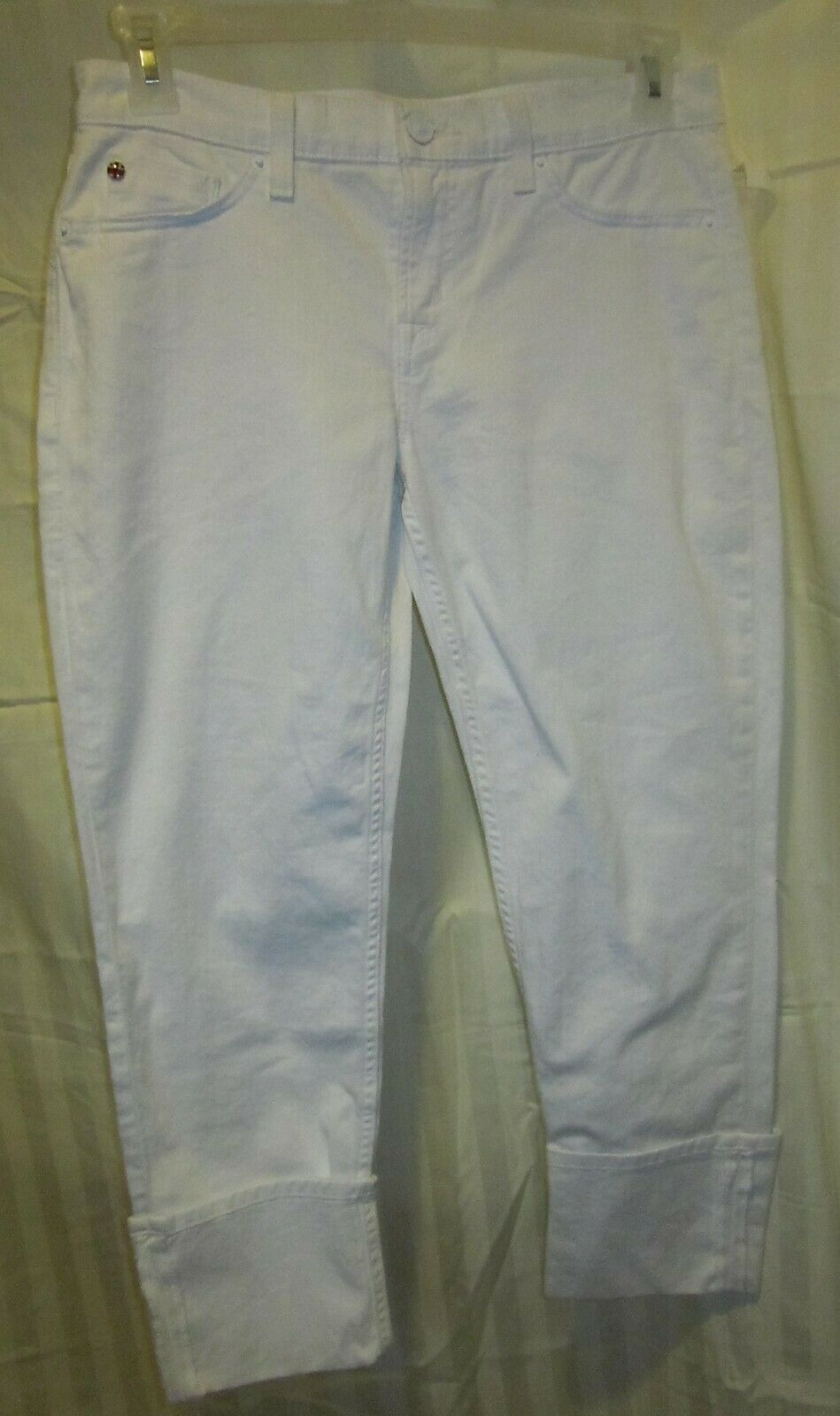 LADIES WHITE HUDSON CROP MUSE SKINNY WHITE PANTS WITH 5  CUFF NWTGS  170