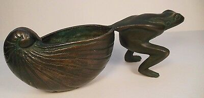 Vintage Garden Frog SAN PACIFIC Collectible Metal Frog Container Flower Pot