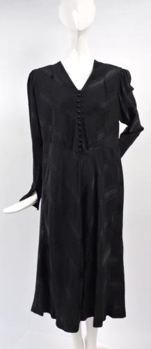 1940'S VINTAGE BLACK SATIN CHEVRON STRIPED HEAVY C
