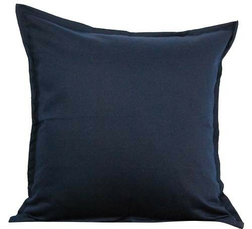 "Two Navy Blue Throw Pillows With Insert Cotton Cushion Sofa 18/""X18/"" Couch Pair"