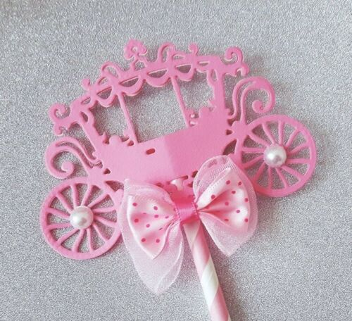 Little Princess Cake Topper Pink Carriage Baby Shower Birthday Party Centrepiece