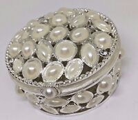 CRYSTAL JEWELED TEAR AND ROUND SHAPED FAUX PEARL ROUND TRINKET BOX