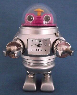 1950s 60s FIGURE MINIATURE ROBOT CLOCK STYLE PINK SILVER TOP DESK METAL RARE 6XqASXw