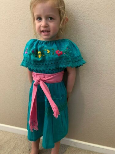 Girl Dress Gypsy emerald  with sash Multicolored embroidered flower  2T-5T