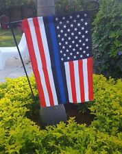 thin blue line american police lives matter red white black garden flag