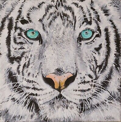 """White Bengal Tiger Print stretched/&wrapped canvas 8/""""x 8/"""" From original acrylic"""