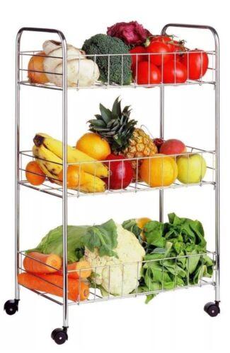 Multipurpose 3 Tier Chrome Fruit Vegetable Storage rack Bathroom Kitchen Trolley