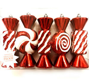 image is loading 5 red amp white peppermint candy christmas ornament - Peppermint Candy Christmas Ornaments