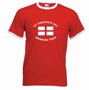 ST-GEORGE-039-S-DAY-DRINKING-TEAM-FUNNY-BEER-T-SHIRT-RED-RINGER-S-M-L-XL-XXL