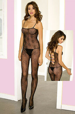 Sexy Black Floral Lace Body Stocking Spaghetti Straps Open Crotch One Size 1433