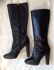 Michael By Michael Kors Boots Black Leather Knee High Heeled Sz 8 M