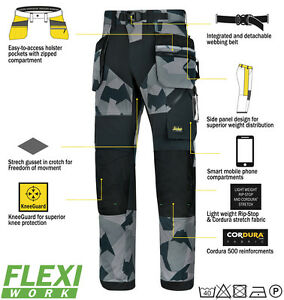 Work Trousers 6902 Snickers Grey Camouflage FlexiWork Holster Pockets
