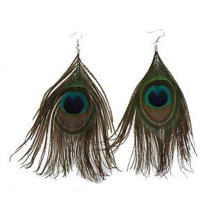 Pfau-Ohrringe-Ohrstecker-Earring-Ear-Cuff-Feder-Peacock-Boho-Vintage-MA