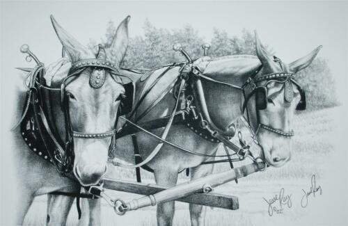 SIGNED LITHOGRAPH JESSE RAY LANDSCAPE TWO MULES PENCIL SKETCH 2002 SS2