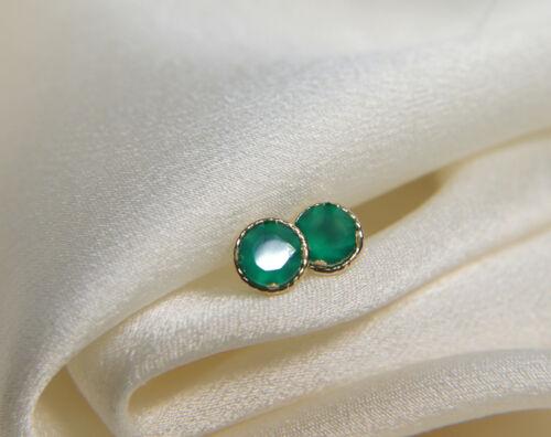Ohrringe 9 Karat Gold Smaragdgrün Onyx Diamantschlif-Facettenschliff in Fassung