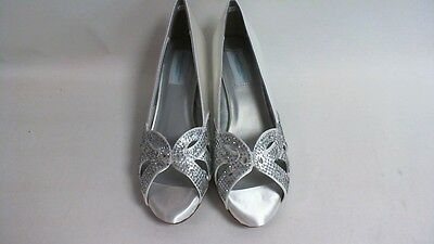 Dyeable Zapatos De Novia/Noche-Tracy Blanco Satinado US 6.5 EE Reino Unido 4.5 X #14L468 de ancho