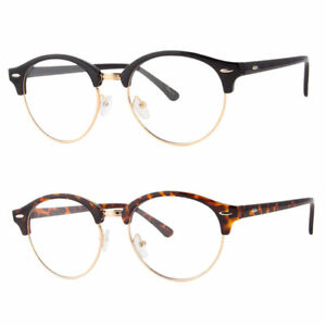 2d635295ddf4d Men s Women s Round Clear Lens Eye Glasses Half Shell Vintage Soho ...