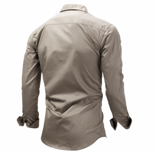 Tactical Military Mens Shirts Outdoor Slim Fit Cargo Shirt Army Combat Sport