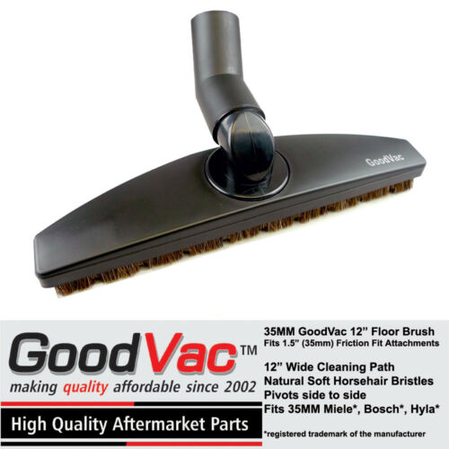 "Miele Floor Tool Brush w// Horsehair Bristles 12/"" Non-OEM 35MM Swivel by GoodVac"