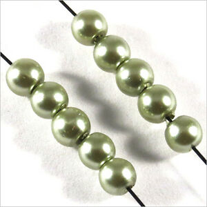 Lot de 100 Perles Nacrées 4mm Bleu Verre de Bohème