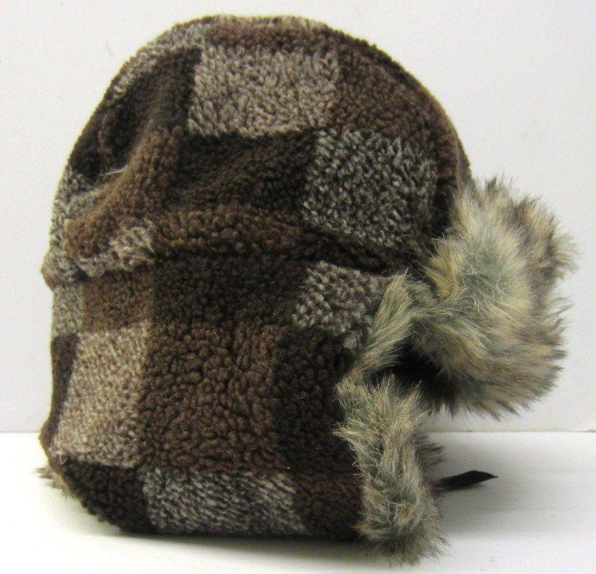 Sale Herren Brown/Grau Kunstpelz Checkard Trapper Hut GL337
