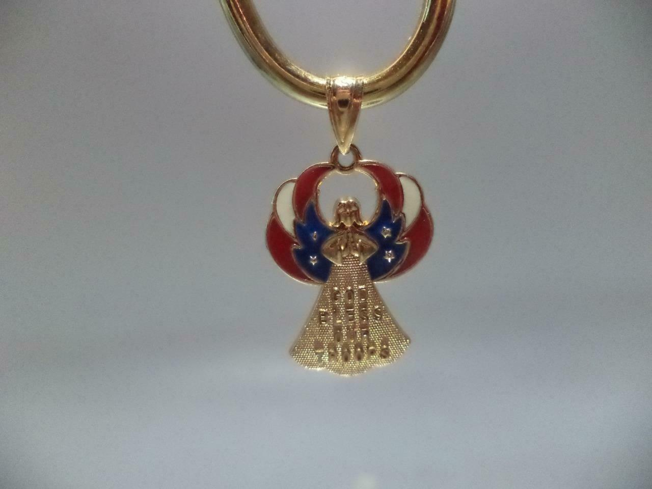 Estate Vintage 14k Yellow gold  God Bless Our Troops  Pendant 1.8 grams