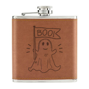 Boo-Fantome-Halloween-170ml-Cuir-PU-Hip-Flasque-Fauve-Citrouille-Effrayant-Drole