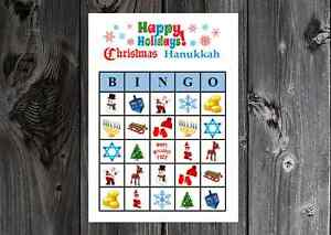image is loading christmas hanukkah happy holiday party game bingo cards