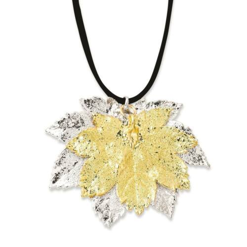 """Flowers /& Leaves Silver//24k Gold Dipped Double Full Moon Maple Leaf Necklace 20/"""""""