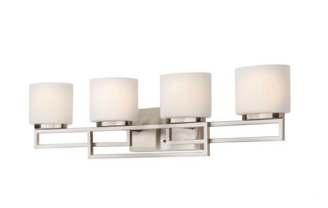 Home Decorators Collection Tustna 4 Light Brushed Nickel Bathroom Vanity Glass For Sale Online Ebay
