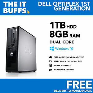 DELL-Dual-Core-8gb-1tb-HDD-Windows-10-WIFI-Escritorio-Pc-Ordenador