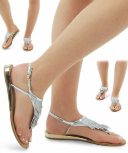 Comfort Flats Shoes Toe Sandals Ladies Dress Beach Silver Party Summer Open Women's 5ExqwZvqH