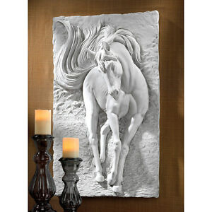 Equine-Grandeur-Horse-Design-Toscano-36-034-Wall-Sculpture-With-Faux-Stone-Finish