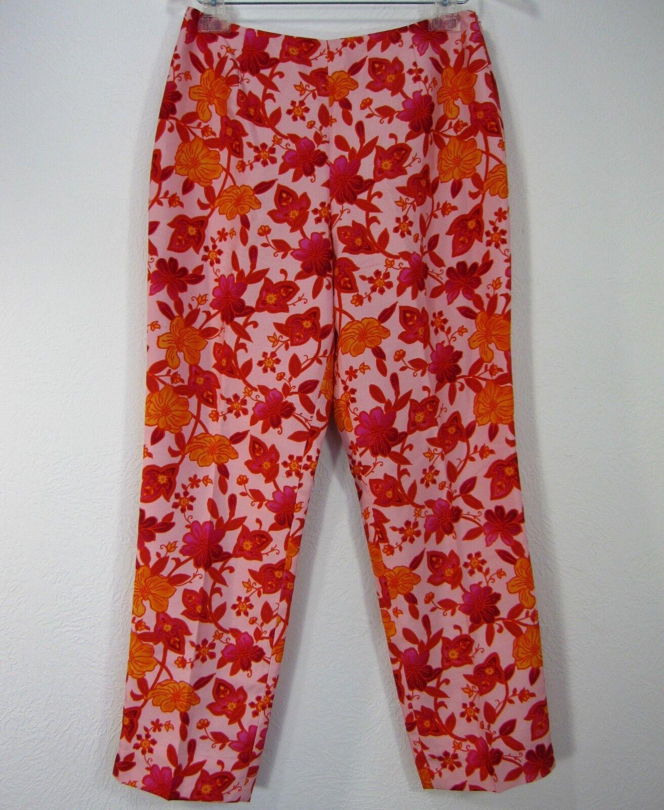 ANN TAYLOR 100% SILK PANTS SIZE 6 Red orange Floral