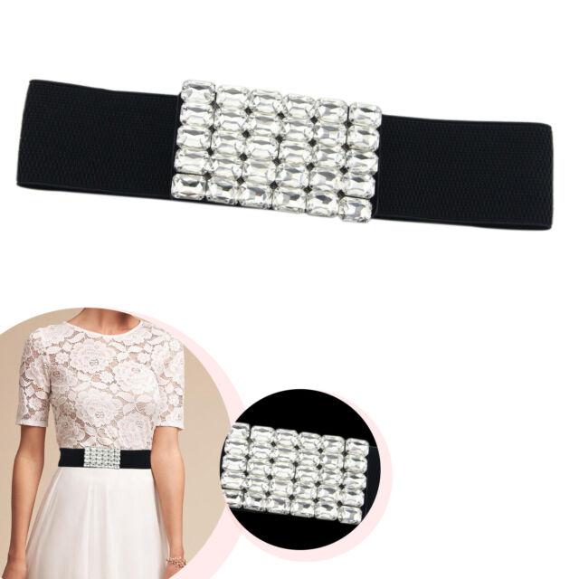 Lady Girl Women Shining Silver Buckle 3 Inch Wide Stretch Elastic Waist Elasticated Wide Fashion Buckle Belt Cat Walk Red