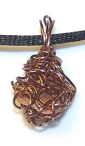 UNIQUE-HAND-CRAFTED-ANTIQUE-COPPER-WIRE-WRAPPED-COPPER-PENDANT-ONE-INCH