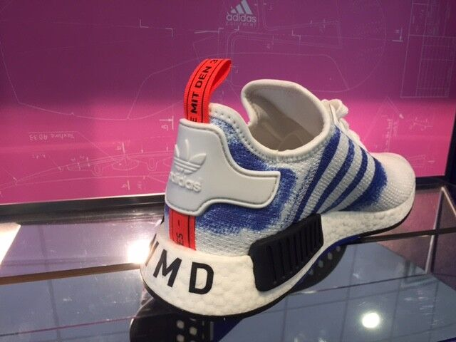 Adidas NMD R1 Stencil Pack White Bold bluee Black Men & GS Sz 4Y-13 New DS