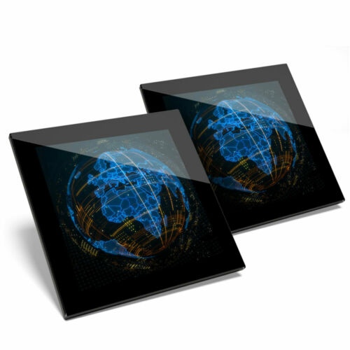 2 x verre Coasters 3D Abstrait Globe Planète Terre Home Cadeau #21059