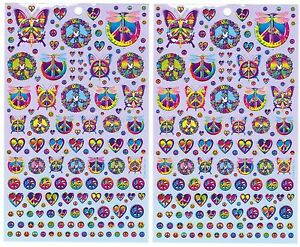 Image Is Loading LISA FRANK Stickers Flower Power Peace Signs Butterfly