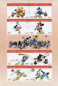 Madagascar-2019-CTO-Disney-Mickey-Minnie-Mouse-Donald-Duck-Pooh-8v-m-s-Sellos