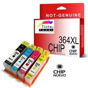 4-Cartuchos-De-Tinta-con-Chip-Hp-364xl-Photosmart-5520-5510-6520-b110a-Non-Oem