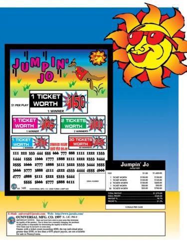 """/""""Jumpin Jo/"""" 5 Window Pull Tab 1620 Tickets  Free Ship USA 48"""