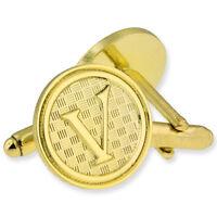 Letter V Alphabet Initials Cufflink Set Gold Or Silver