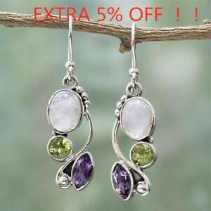 Women-Natural-Rainbow-Moonstone-Amethyst-Dangle-Hook-Earrings-Wedding-Jewelry-AU
