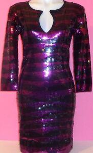 Victoria-039-s-Secret-DRESS-S-Sequin-Black-Purple-Cocktail-Party-Bodycon-Keyhole