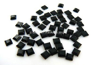 STRASS Quadrati 4mm x 4mm 50pz hotfix Neri black quadrato Termoadesivi nero