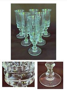 VINTAGE Wine Glass Flutes 4 oz. Vertical Cuts Clear 6-Piece Set