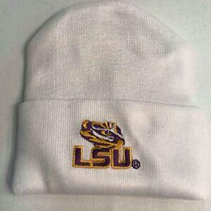 LSU-Creative-Knitwear-White-Newborn-Knit-Cap-with-LSU-Tiger-Eye