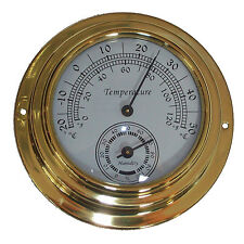 10cm Dial Brass Case Thermometer Hygrometer -0°c 50°c Wall Mounted
