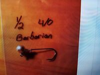 15 1/2 Round Head Jigs Vmc Barbarian Black Forged Hooks 3/0 Or 4/0 You Choose